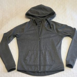 Athletic Zip Up Hoodie Gray Super Warm Small